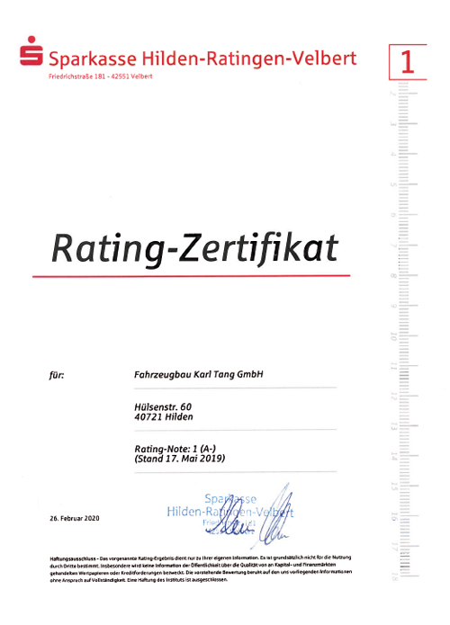 DSVG Rating Zertifikat